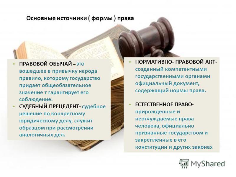 Основные источники ( формы ) права ПРАВОВОЙ ОБЫЧАЙ – ЭТО вошедшее в привычку народа правило, которому государство придает общеобязательное значение т гарантирует его соблюдение. СУДЕБНЫЙ ПРЕЦЕДЕНТ- судебное решение по конкретному юридическому делу, с