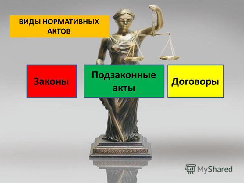 ВИДЫ НОРМАТИВНЫХ АКТОВ Законы Подзаконные акты Договоры