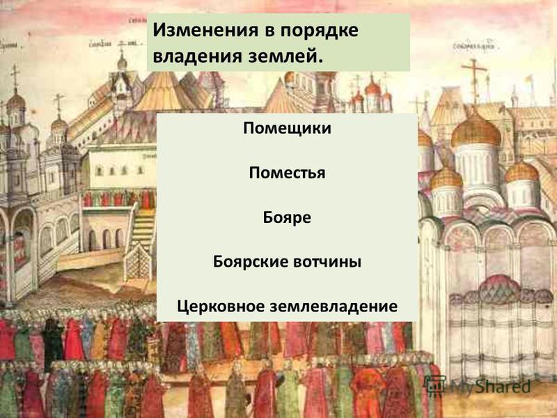 Помещики Поместья Бояре Боярские вотчины Церковное землевладение Изменения в порядке владения землей.