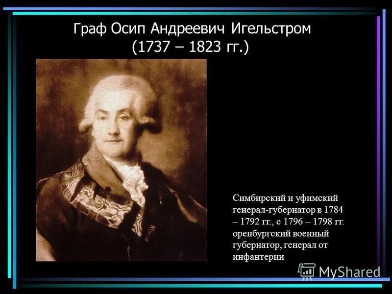 Граф Осип Андреевич Игельстром (1737 – 1823 гг.) Симбирский и уфимский генерал-губернатор в 1784 – 1792 гг., с 1796 – 1798 гг. оренбургский военный губернатор, генерал от инфантерии