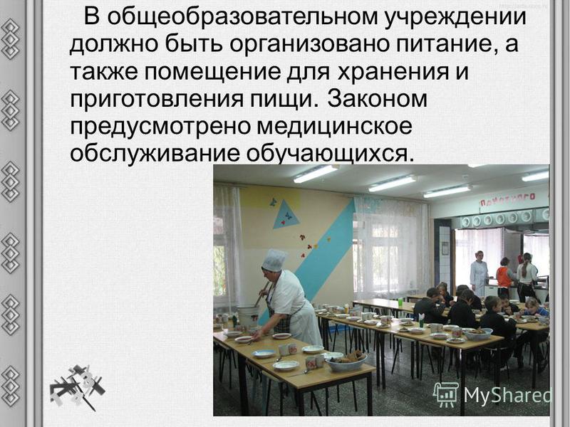 В общеобразовательном учреждении должно быть организовано питание, а также помещение для хранения и приготовления пищи. Законом предусмотрено медицинское обслуживание обучающихся.
