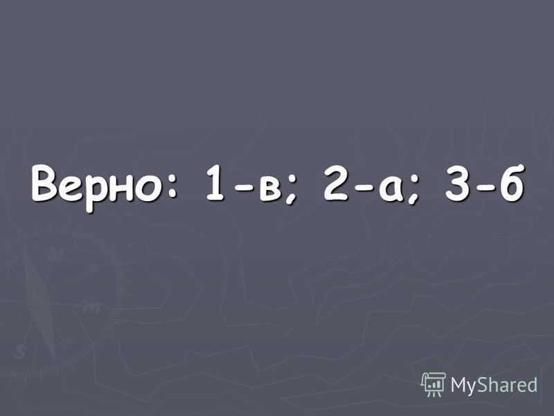 Верно: 1-в; 2-а; 3-б
