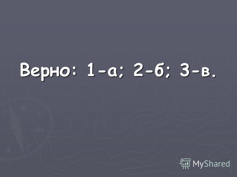 Верно: 1-а; 2-б; 3-в.
