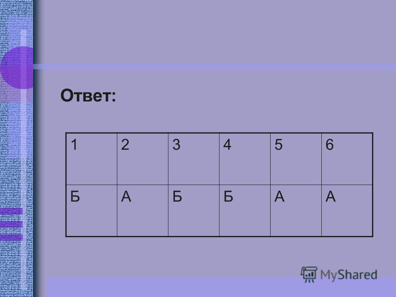 Ответ: 123456 БАББАА
