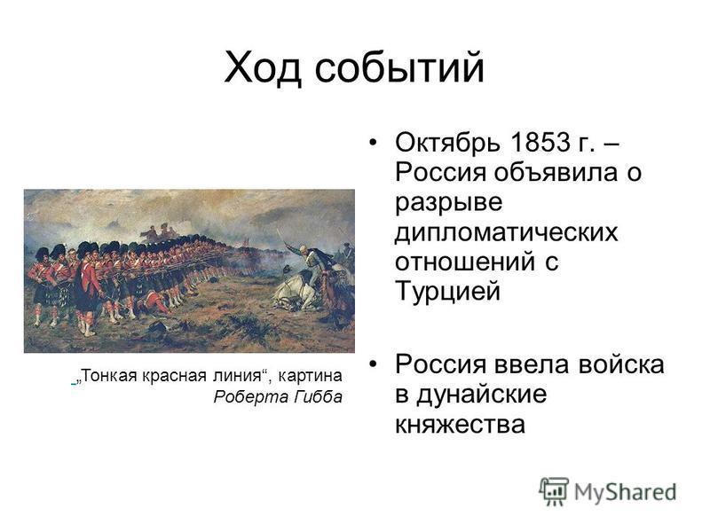 Ход событий Октябрь 1853 г. – Россия объявила о разрыве дипломатических отношений с Турцией Россия ввела войска в дунайские княжества Тонкая красная линия, картина Роберта Гибба