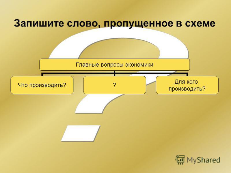 Главные вопросы экономики Что производить? ? Для кого производить? Запишите слово, пропущенное в схеме