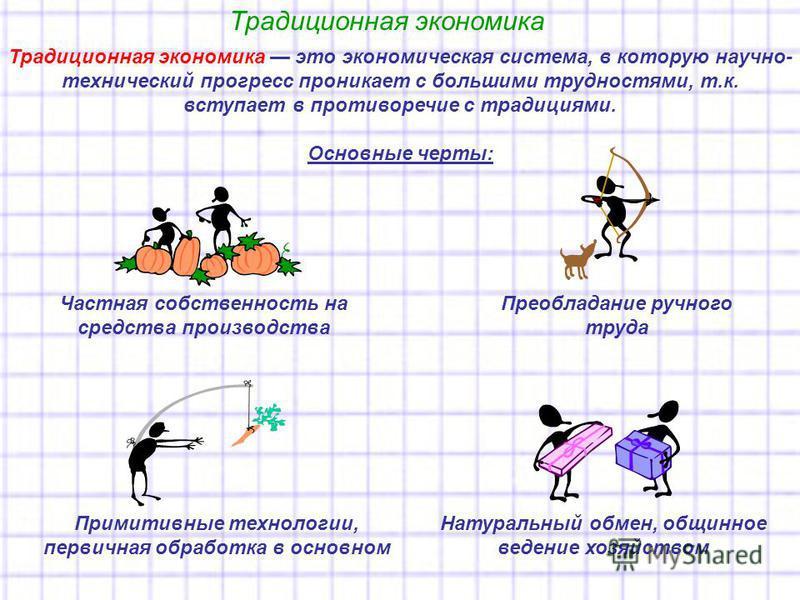 Традиционная экономика Традиционная экономика это экономическая система, в которую научно- технический прогресс проникает с большими трудностями, т.к. вступает в противоречие с традициями. Основные черты: Частная собственность на средства производств