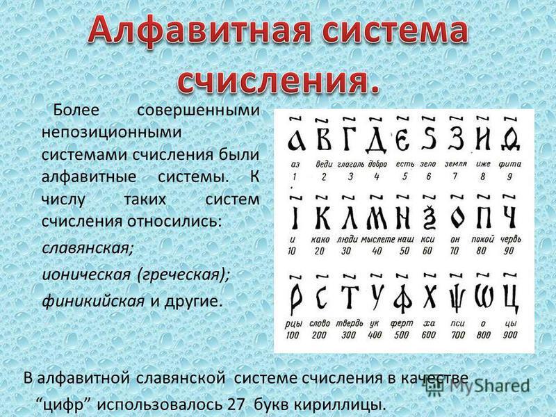 Более совершенными непозиционными системами счисления были алфавитные системы. К числу таких систем счисления относились: славянская; ионическая (греческая); финикийская и другие. В алфавитной славянской системе счисления в качестве цифр использовало
