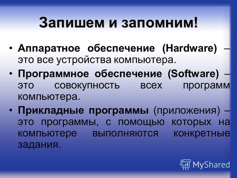 Запишем и запомним! Аппаратное обеспечение (Hardware) – это все устройства компьютера. Программное обеспечение (Software) – это совокупность всех программ компьютера. Прикладные программы (приложения) – это программы, с помощью которых на компьютере