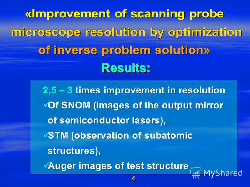 Results:Results: 2,5 – 3 times improvement in resolution Of SNOM (images of the output mirror of semiconductor lasers), STM (observation of subatomic structures), Auger images of test structure 2,5 – 3 times improvement in resolution Of SNOM (images
