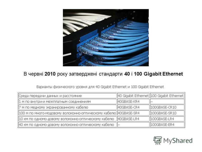 В червні 2010 року затверджені стандарти 40 і 100 Gigabit Ethernet