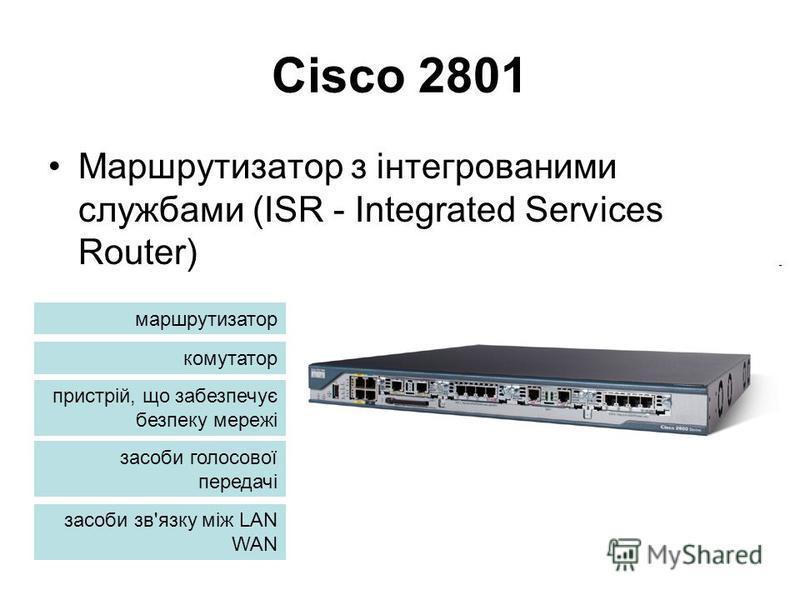 Cisco 2801 Маршрутизатор з інтегрованими службами (ISR - Integrated Services Router) маршрутизатор комутатор пристрій, що забезпечує безпеку мережі засоби голосової передачі засоби зв'язку між LAN WAN