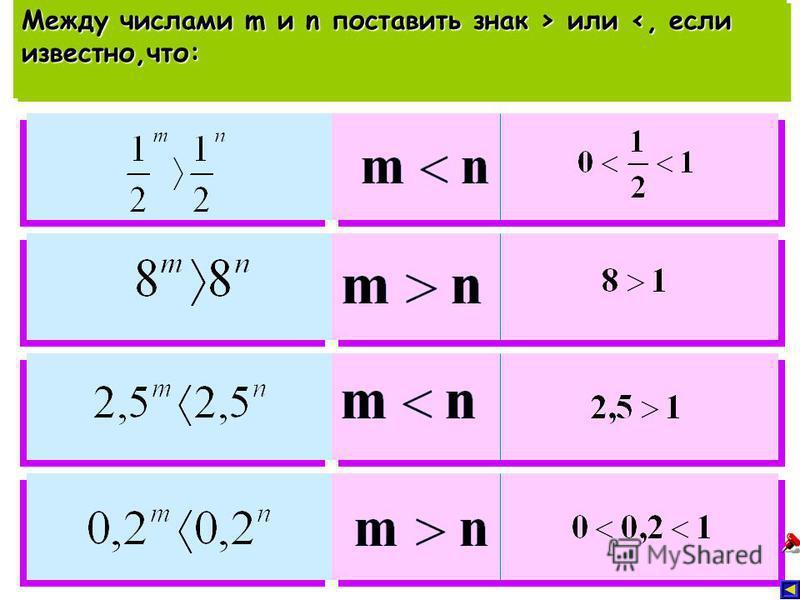 Между числами m и n поставить знак > или или <, если известно,что: