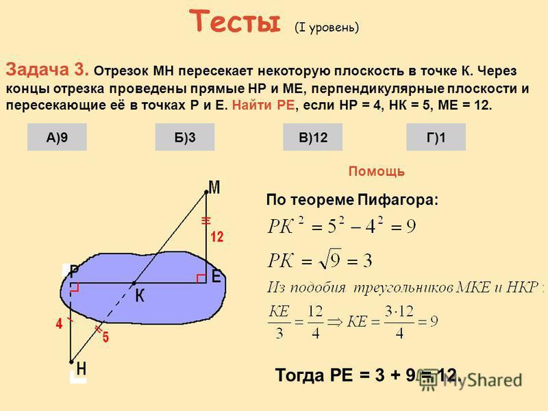 Тесты (I уровень) Задача 2. Отрезок длиной 10 своими концами упирается в две параллельные плоскости, расстояние между которыми равно 8. Найти проекции отрезка на эти плоскости. А)6 и 6Б)6 и 5В)8 и 8Г)8 и 5 Помощь 8 По теореме Пифагора
