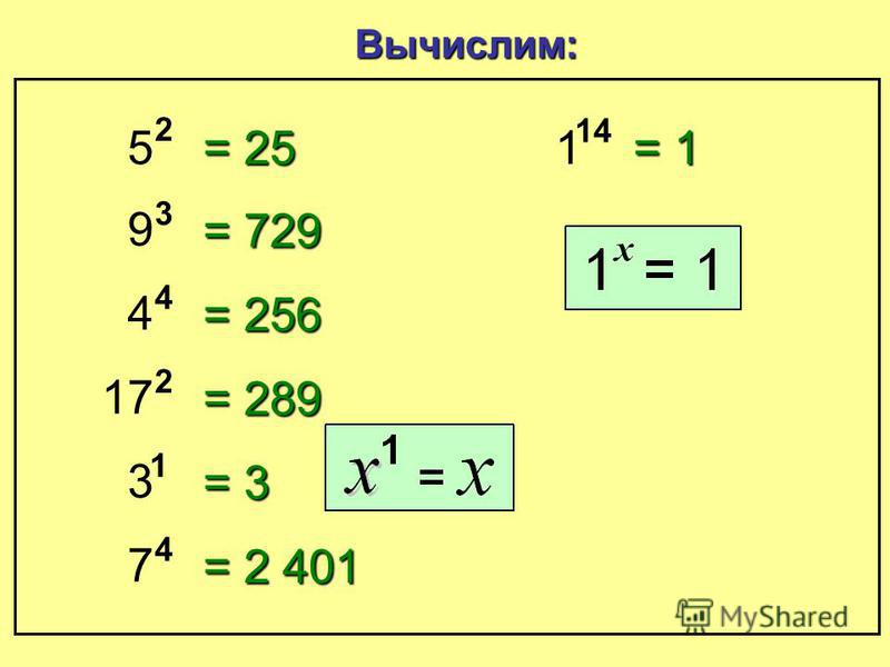 9 3 Три в девятой степени 5 4 Пять в ч чч четвертой степени 7 2 Семь во в вв второй степени или С СС Семь в в в в квадрате 10 3 Десять в т тт третьей степени или Д ДД Десять в вв в кубе Как читать степень