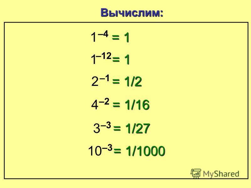 Степень с отрицательным показателем = 9 = 3 = 1 Пойдем по схеме: –1–1 :3 –1–1 –1–1 = 1/3 –1–1 :3 = 1/9
