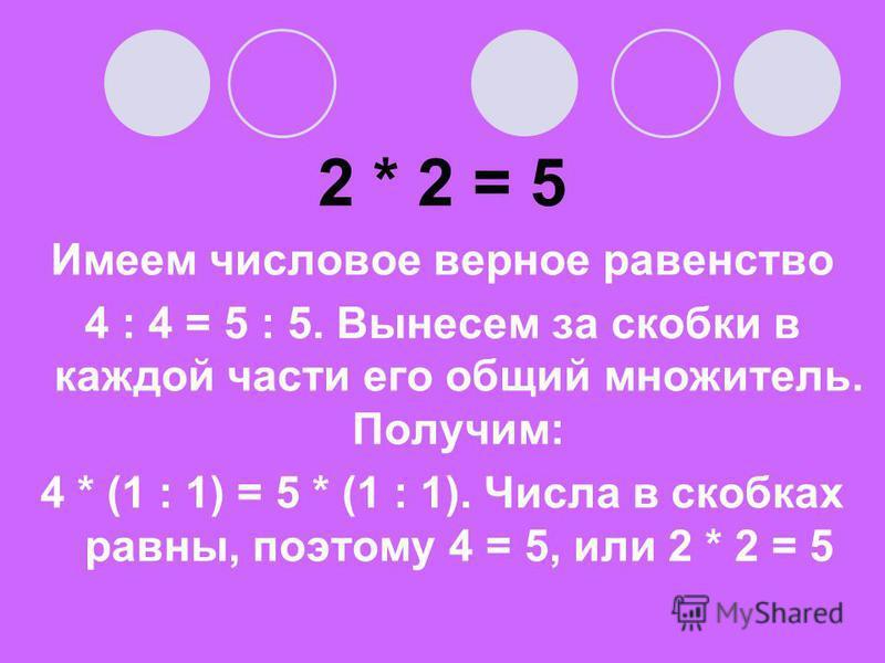 2 * 2 = 5 Имеем числовое верное равенство 4 : 4 = 5 : 5. Вынесем за скобки в каждой части его общий множитель. Получим: 4 * (1 : 1) = 5 * (1 : 1). Числа в скобках равны, поэтому 4 = 5, или 2 * 2 = 5