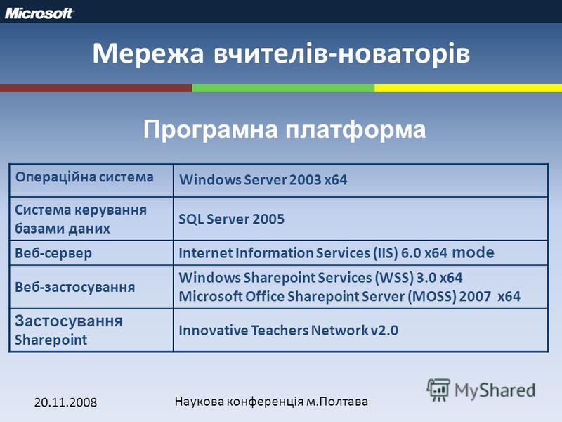 20.11.2008 Наукова конференція м.Полтава Мережа вчителів-новаторів Програмна платформа Операційна система Windows Server 2003 x64 Система керування базами даних SQL Server 2005 Веб-серверInternet Information Services (IIS) 6.0 x64 mode Веб-застосуван