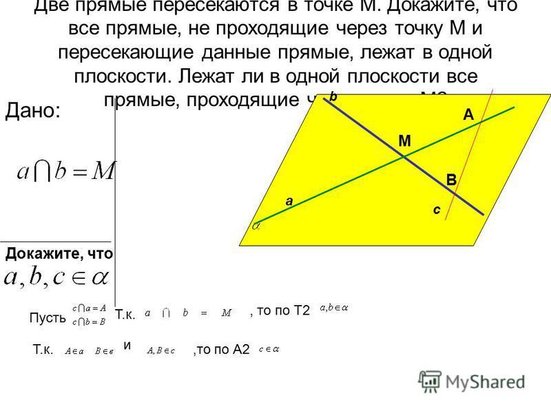 Верно ли утверждение: Через любые три точки проходит плоскость, и притом только одна А В С