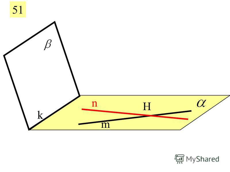 51 m n Если две пересекающиеся прямые одной плоскости параллельны другой плоскости, то эти плоскости параллельны