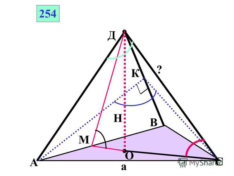 А В С Д О ПРАВИЛЬНАЯ ПИРАМИДА 4 3 3 ? 5 Найти 1)боковое ребро 2)угол между боковым ребром и плоскостью основания 3) апофему 4) площадь поверхности 5) двугранный угол при основании 5) плоский угол при вершине 4 2 13 А С Д 55 4 3 2 3