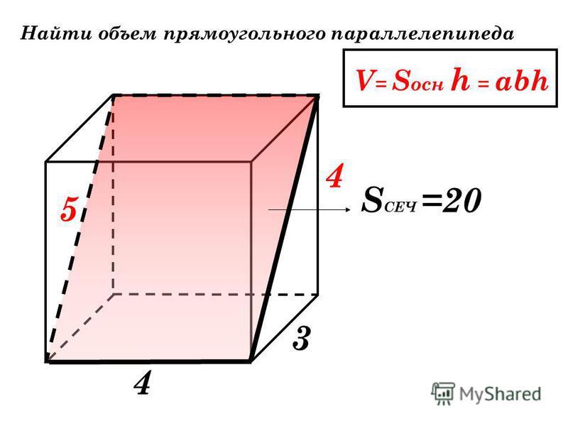 Найти объем прямоугольного параллелепипеда V = S осн h = abh 1 2 30 3 1 2