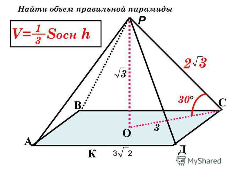 А В С Д О К P 4 2 2 Найти объем правильной пирамиды V= S осн h 1313 45 2