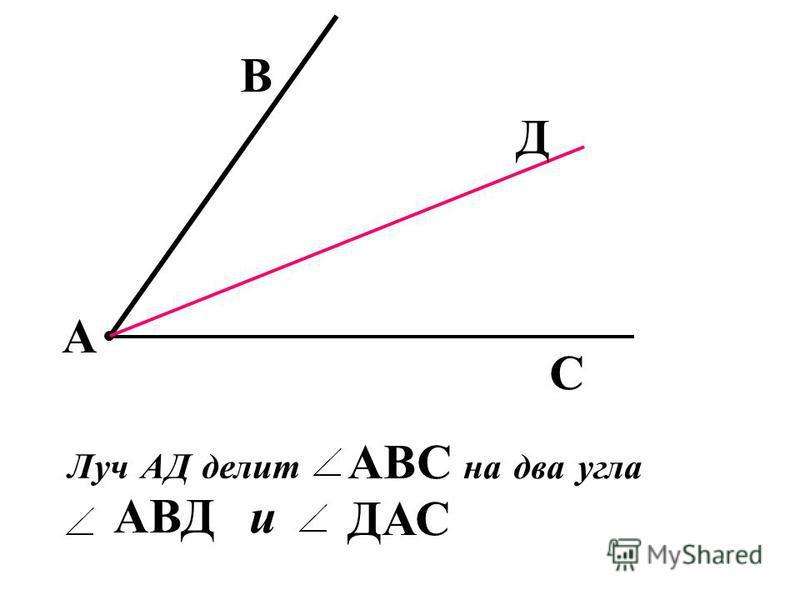 А Развернутый угол обе стороны лежат на одной прямой А - развернутый