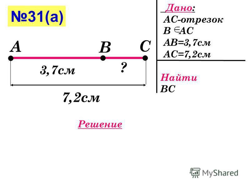 30 Дано: АС-отрезок В АС АВ=7,8 см ВС=25 мм=2,5 см Найти АС А С В 7,8 см 2,5 см Решение АС=АВ+ВС АС=7,8+2,5 =10,3( СМ ) Ответ : 10,3( СМ )