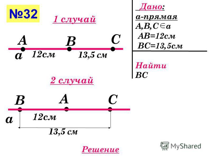 31(б) Дано: АС-отрезок В АС АВ=4 мм АС=4 см=40 мм Найти ВС А С В 4 мм ? Решение 40 мм