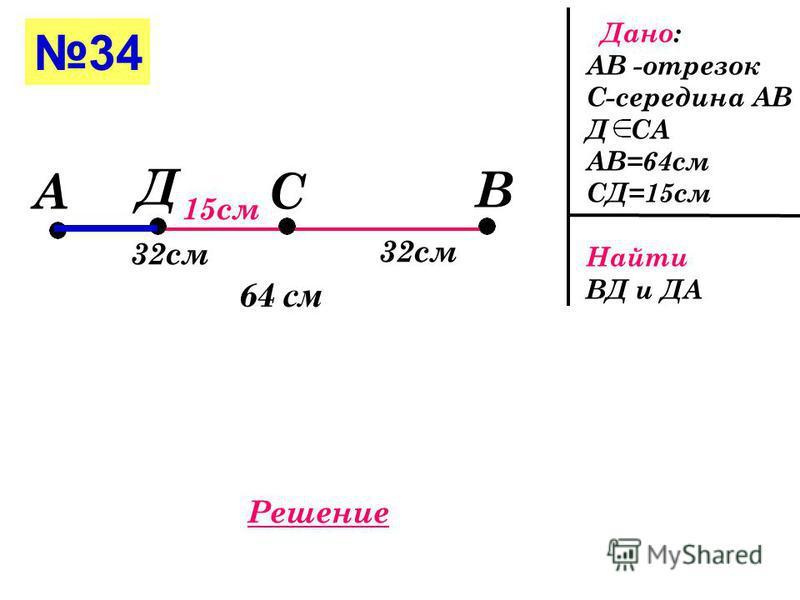 33 Дано: а-прямая М,В,Д а ДВ=7 см МД=16 см Найти ВМ М Д В 16 см 7 см 1 случай В М Д 7 см 16 см 2 случай а а