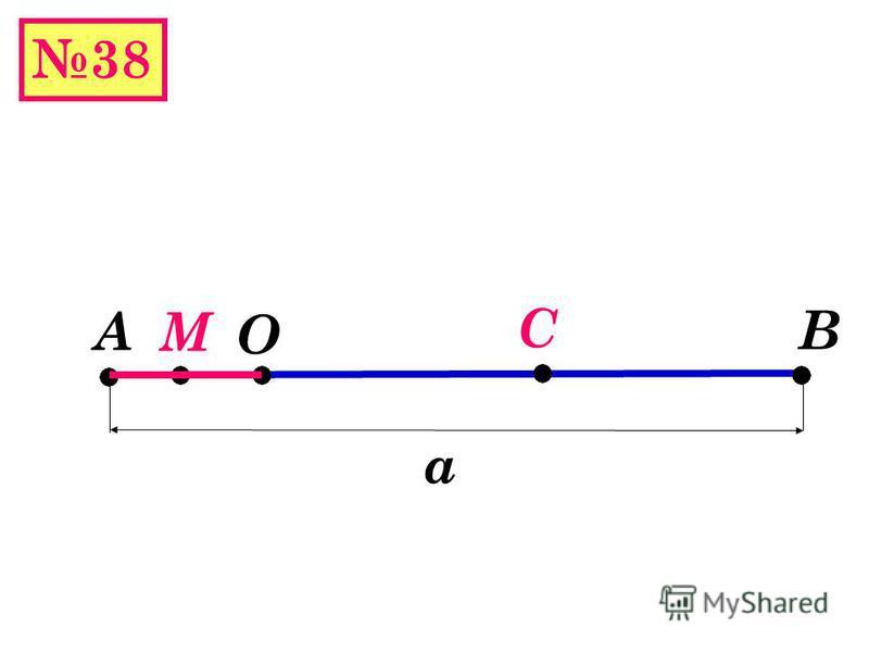38(б) А В О Дано: А,О,В а О АВ М середина АО К –середина ОВ АО=12 см ОВ=9 см Найти: МК М К 12 см 6 см 6 см 9 4,5