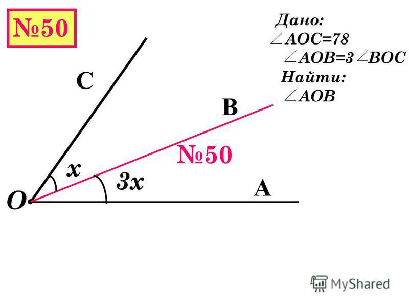49 А В О С Дано: а) АОВ=155 АОС > ВОС на 15 Найти: АОC х х+15 Решение х+15+х=155 2)70+15=85 - АОС 2 х=155-15 2 х=140 х=70 Ответ: АОС=85