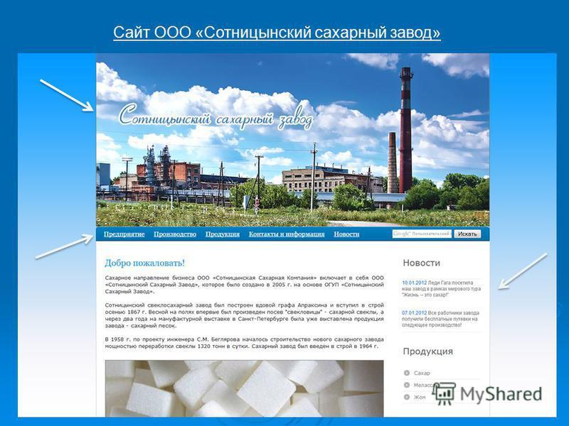 Сайт ООО «Сотницынский сахарный завод»