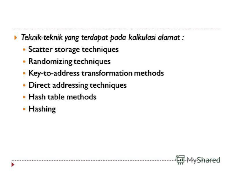 Teknik-teknik yang terdapat pada kalkulasi alamat : Teknik-teknik yang terdapat pada kalkulasi alamat : Scatter storage techniques Scatter storage techniques Randomizing techniques Randomizing techniques Key-to-address transformation methods Key-to-a