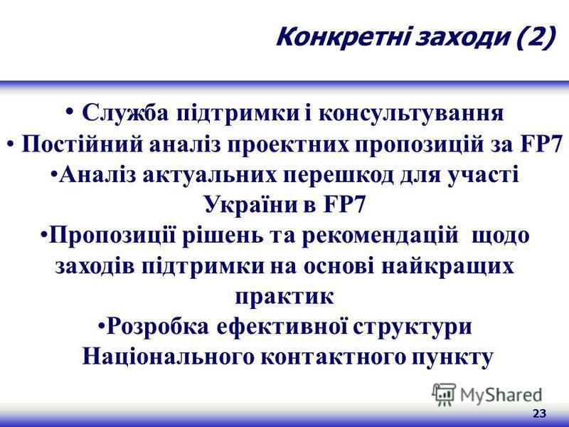23 Конкретні заходи (2) Служба підтримки і консультування Постійний аналіз проектних пропозицій за FP7 Аналіз актуальних перешкод для участі України в FP7 Пропозиції рішень та рекомендацій щодо заходів підтримки на основі найкращих практик Розробка е