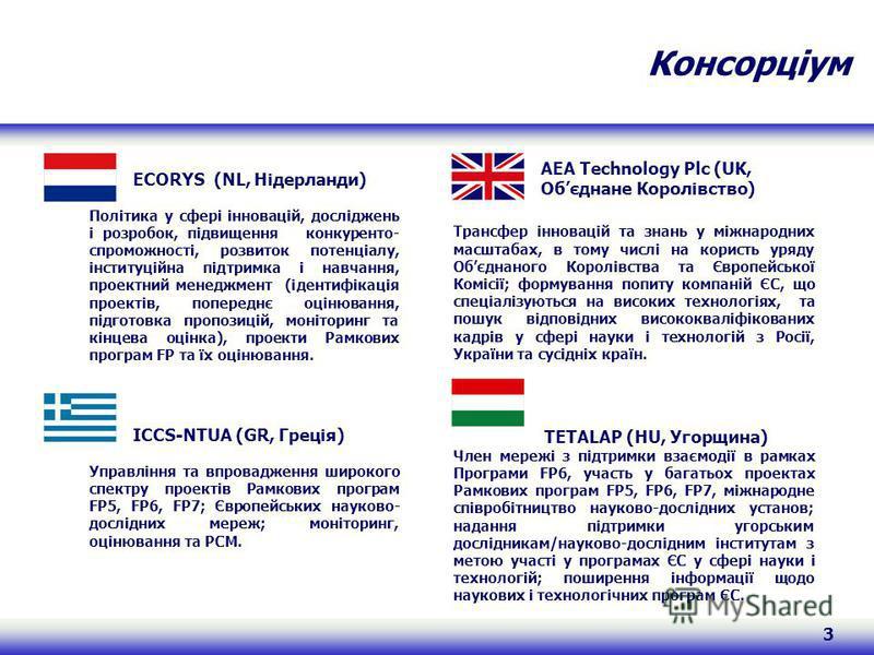 3 Консорціум AEA Technology Plc (UK, Обєднане Королівство) Трансфер інновацій та знань у міжнародних масштабах, в тому числі на користь уряду Обєднаного Королівства та Європейської Комісії; формування попиту компаній ЄС, що спеціалізуються на високих