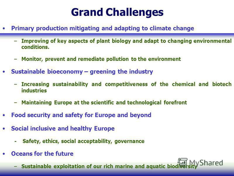 Grand Challenges Primary production mitigating and adapting to climate change –Improving of key aspects of plant biology and adapt to changing environmental conditions. –Monitor, prevent and remediate pollution to the environment Sustainable bioecono