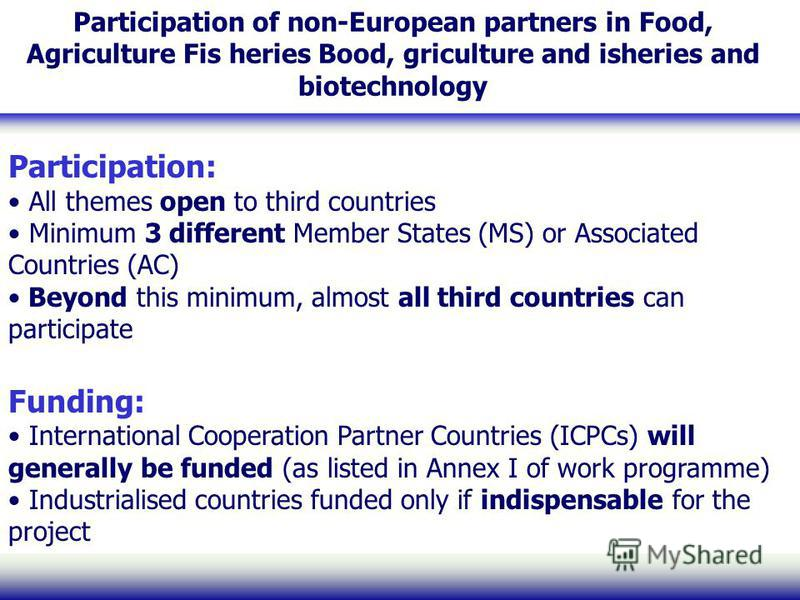 Participation of non-European partners in Food, Agriculture Fis heries Bood, griculture and isheries and biotechnology Participation: All themes open to third countries Minimum 3 different Member States (MS) or Associated Countries (AC) Beyond this m