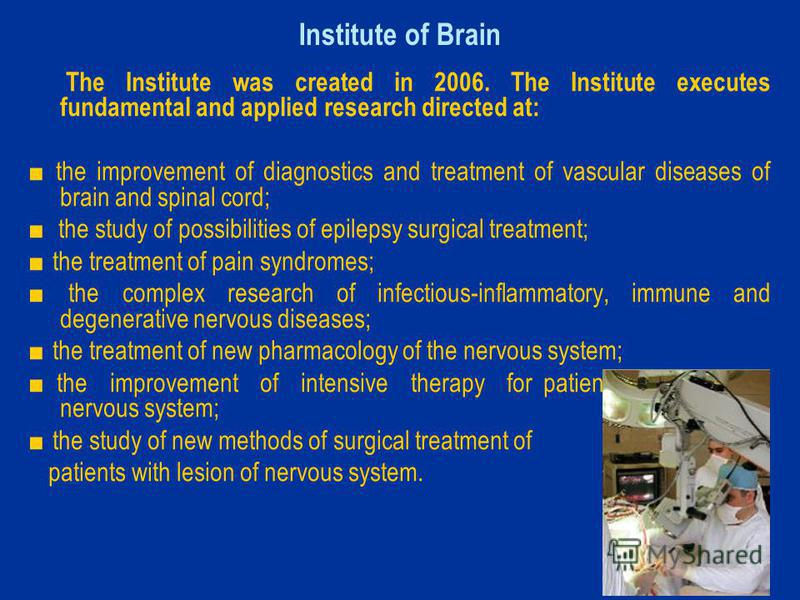 Institute of Brain The Institute was created in 2006. The Institute executes fundamental and applied research directed at: the improvement of diagnostics and treatment of vascular diseases of brain and spinal cord; the study of possibilities of epile
