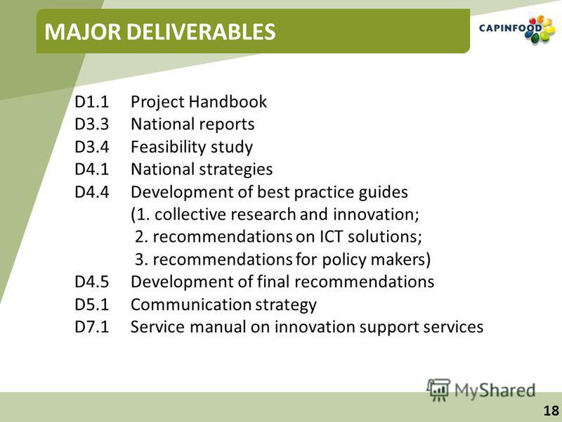 18 MAJOR DELIVERABLES D1.1Project Handbook D3.3National reports D3.4Feasibility study D4.1National strategies D4.4Development of best practice guides (1. collective research and innovation; 2. recommendations on ICT solutions; 3. recommendations for