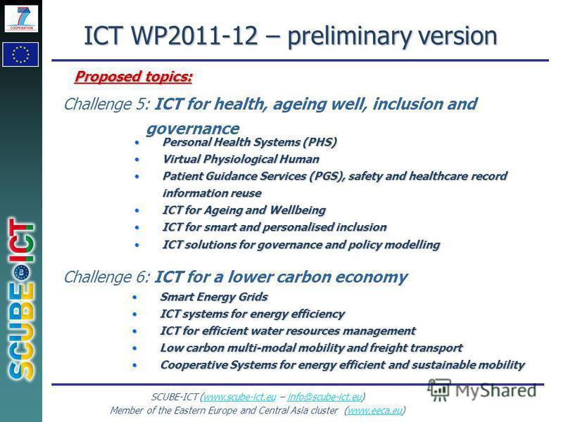SCUBE-ICT (www.scube-ict.eu – info@scube-ict.eu)www.scube-ict.euinfo@scube-ict.eu Member of the Eastern Europe and Central Asia cluster (www.eeca.eu)www.eeca.eu Personal Health Systems (PHS)Personal Health Systems (PHS) Virtual Physiological HumanVir
