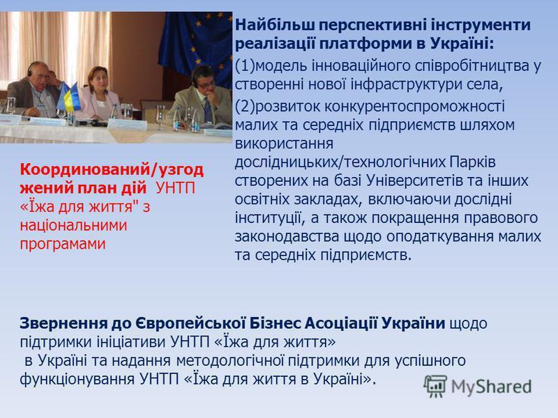 Найбільш перспективні інструменти реалізації платформи в Україні: (1)модель інноваційного співробітництва у створенні нової інфраструктури села, (2)розвиток конкурентоспроможності малих та середніх підприємств шляхом використання дослідницьких/технол