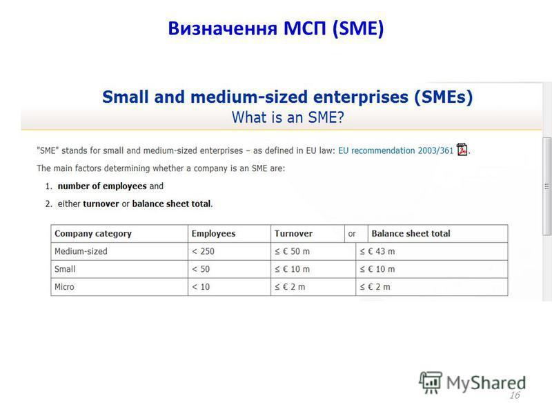 Визначення МСП (SME) 16