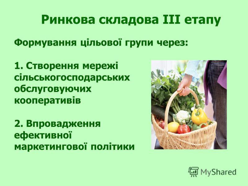 Ринкова складова III етапу Формування цільової групи через: 1. Створення мережі сільськогосподарських обслуговуючих кооперативів 2. Впровадження ефективної маркетингової політики