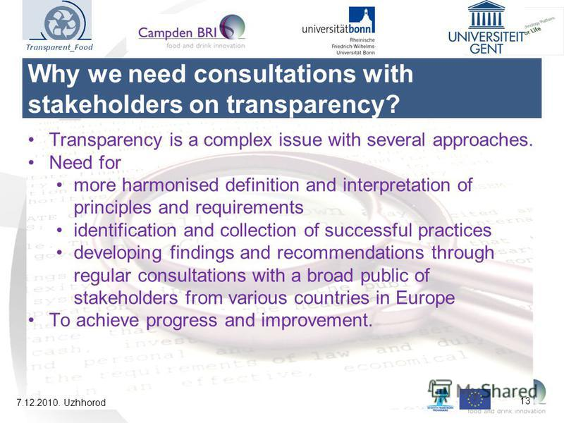 Transparency is a complex issue with several approaches. Need for more harmonised definition and interpretation of principles and requirements identification and collection of successful practices developing findings and recommendations through regul