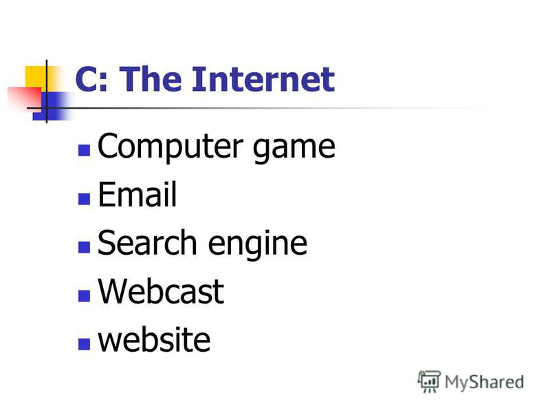 C: The Internet Computer game Email Search engine Webcast website