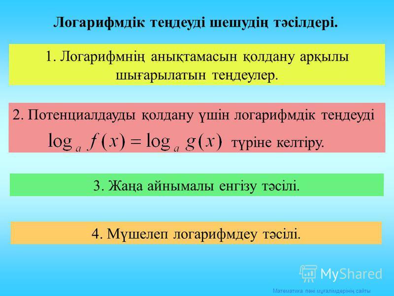 Математика пәні мұғалімдерінің сайты Логарифмдік теңдеуді шешудің тәсілдері. 1. Логарифмнің анықтамасын қолдану арқылы шығарылатын теңдеулер. 2. Потенциалдауды қолдану үшін логарифмдік теңдеуді түріне келтіру. 3. Жаңа айнымалы енгізу тәсілі. 4. Мүшел