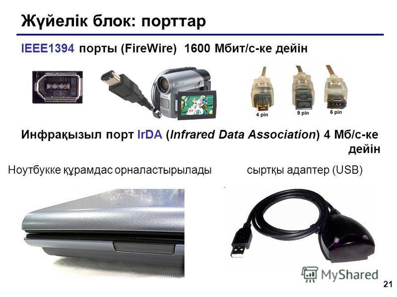 21 Жүйелік блок: порттар IEEE1394 порты (FireWire) 1600 Мбит/c-ке дейін Инфрақызыл порт IrDA (Infrared Data Association) 4 Мб/с-ке дейін Ноутбукке құрамдас орналастырыладысыртқы адаптер (USB)