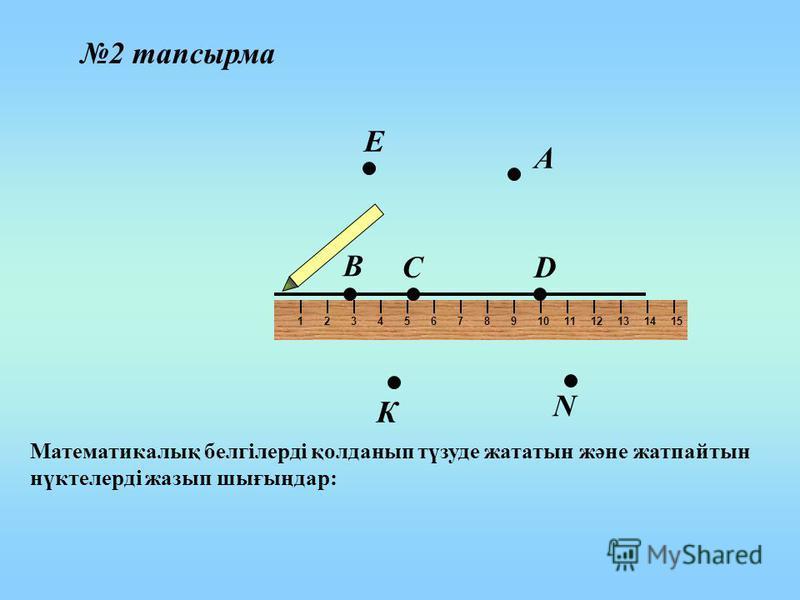 123456789101112131415 D В С А Е К N 2 тапсырма Математикалық белгілерді қолданып түзуде жататын және жатпайтын нүктелерді жазып шығыңдар: